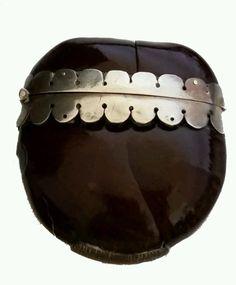 Antique Horse Chestnut Shell Silver Trim Match Safe Vesta Case Box holder