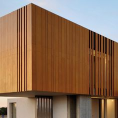 Facade is a high-density stratified wood board for facade cladding. It can be installed as ventilated facade, as louvres or overlapping slats, on suspended ceilings and curved walls. Facade Design, Exterior Design, House Design, Timber Cladding, Exterior Cladding, Wood Architecture, Architecture Details, Chinese Architecture, Futuristic Architecture
