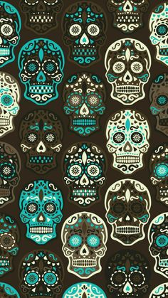 Cute Wallpapers, Wallpaper Backgrounds, Iphone Wallpaper, Phone Backgrounds, Caveira Mexicana Tattoo, Sugar Skull Artwork, Sugar Skull Wallpaper, Day Of The Dead Art, Mexican Designs