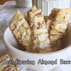 Scrambled Henfruit: Scandinavian Almond Bars - I Cook Different Almond Pastry, Almond Bars, Almond Recipes, Baking Recipes, Cookie Recipes, Almond Cookies, Yummy Cookies, Bar Cookies, Chocolate Cookies