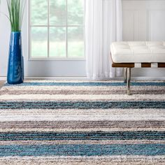 Shop for nuLOOM Handmade Striped Plush Shag Rug (5' x 8') and more for everyday discount prices at Overstock.com - Your Online Home Decor Store!