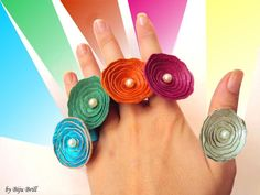 Leather Roses Summer Pearl Ring Colorful Fun Jewelry by BijuBrill