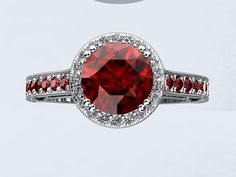 14kt White Gold Ruby VVS 1.40ct and Diamonds Engagement Ring Wedding Ring Crowned Love Inspired LRWG1 on Etsy, $1,490.00