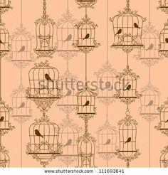 Vintage birds and birdcages. Vector illustration. by Alekksall, via Shutterstock