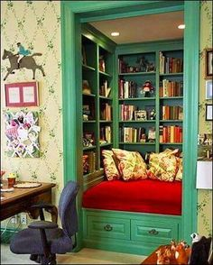 Ohhhhh....I must, I must, I MUST do this when I get a larger place...turn an extra closet into a book nook.....LOVE THIS IDEA!!!