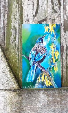 New Zealand Spotted Kiwi Bird in Ponga Fern Trees, Outdoor Garden, Patio, Wall Art, x weatherproof Outdoor Wall Art, Outdoor Walls, Tui Bird, Panel Wall Art, Silk Painting, Online Gifts, Ferns, Kiwi, Bird Feeders