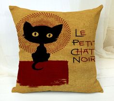 European Decorative Cartoon Cat Style Cushion Cover