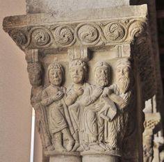 Claustro de la Catedral de Tudela - Capitel historiado con la predicación de San Juan