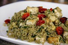 Quinoa Pesto Salad w/Tofu (vegan, gluten-free) - Vegetarian Gastronomy
