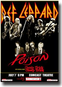 Def Leppard Poster – Concert with Poison Blk Promo Flyer to advertise a concert by Def Leppard and Poison at the Comcast Center | Size – approximately 11×17 inches ( 28x43cm) | Pri…