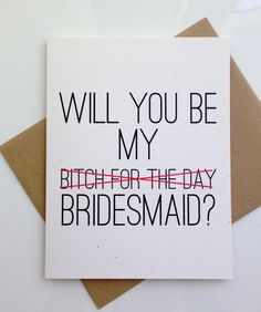 Will you Be My Brides Maid Card Bridesmaid Card by PattersonPaper, $4.00