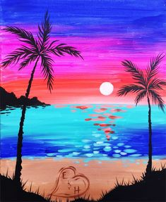 Nothing beats summer at the beach! Come paint your initials into the sand of Summer Sunset at a Pinot's Palette Date Night!