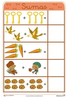 Fichas para aprender a sumar ➡➤ Sumas para niños Kindergarten Math Activities, Montessori Math, Preschool Activities, Worksheets For Kids, Math Worksheets, Childhood Education, Kids Education, English Grammar For Kids, Material Didático
