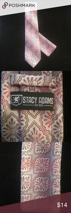 """MEN'S STACY ADAMS TIE AND HANKY SET Grey, silver and mauve abstract diagonal design. 58"""" long X 3.5"""" wide 100% microfiber polyester Hand made in China STACY ADAMS Accessories Ties"""