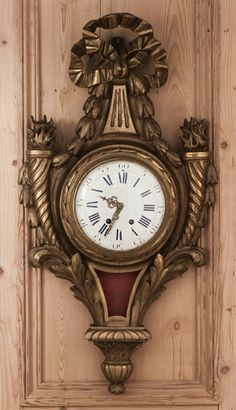 Antique Louis XVI Giltwood Wall Clock | Mantel/Wall | Inessa Stewart's Antiques