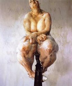"""The dramatic and strong tension that the painting holds by showing the grotes """"individual/subjecta"""" sitting in what appears to be a stool. I just wonder what is the intention for the form, impressive flesh tones."""