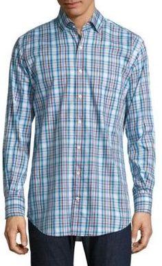 0cda3e742a Camisa de Manga Larga de Cuadro Vichy en Blanco y Negro