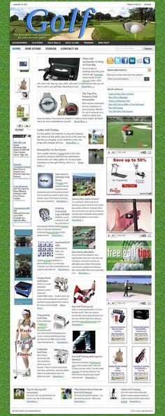 Golf ready-made website for sale! Comprehensive website design with very elegant and detailed graphics, plenty of content, dozens of pictures, videos reviews, contact/privacy pages, and more! READY TO RUN with ANY affiliate programs such as AdSense, Amazon, ClickBank, Chitika, AdBrite, Kontera, Infolinks... all of them! Built-in and preconfigured auto-updating Amazon Store, start selling without keeping any inventory!
