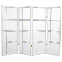 Oriental Furniture 4 ft. Tall Double Cross Shoji Screen - White - 4 Panels