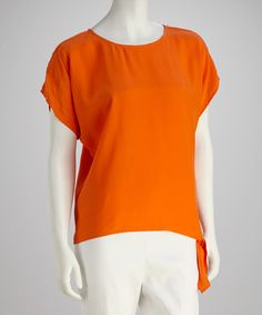 Take a look at this Orange Side-Tie Silk Blouse by Randy Kemper on #zulily today!