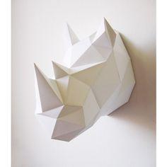 Trophée origami animaux / rhinocéros