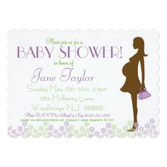 Pink Silhouette Baby Shower 5x7 Paper Invitation Card