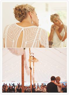 Huge marquee tent with fairy lights - always the combo that makes for a magical moment