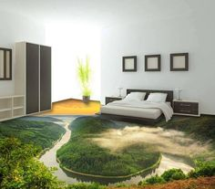 Magnificent Sunset Natural Scenery Print Nonslip and Waterproof Floor Murals