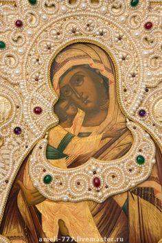 """Купить Икона """"Владимирская Богородица"""" в жемчужном шитье - икона, Шитьё, жемчуг, вышивка, ирина руднева"""