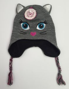 7c70cf29d28 Girls SO BRAND Gray silver Sparkle Cat Peruvian Winter Hat Size S m