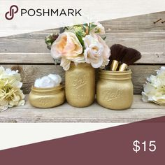 """New Mason jar decor bundle Glitter spray jars# set of 3 # flowers & accesories not included sample only # final price  ⚡*Only small items can be bundle... ⚡* Only 6- 16oz mason jars can be bundle... ⚡* Only 5-32oz mason jars can be bundle... ⚡* Only 12 -4oz mason jars can be bundle... ⚡*Some of my listings say """"this item can't be bundle due weight """" so be careful before you bundle... ⚡* Receive 5% on 2 items... Makeup Brushes & Tools"""