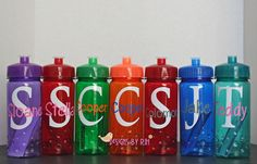 Monogram & Name Personalized 16oz Sports Water Bottle - For Kids - Party Favors, Gifts - Fun Colors. $6.50, via Etsy.