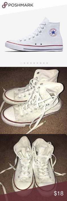 White Converse High-Tops Size 8.5 women's! Normal signs of wear- see pictures  *selling as is*  OFFERS WELCOME Converse Shoes Sneakers