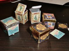 Miniaturas: Tutorial for making biscuit tins from card and printies - Spanish