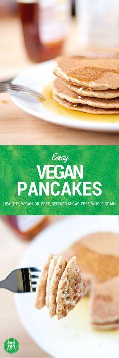 Easy Vegan Pancakes | WIN-WINFOOD.com #healthy #vegan #oilfree #easy #quick