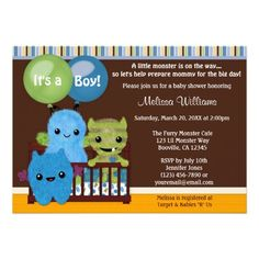 Peek a Boo MONSTERS Baby Shower invitation boy PAB - Matches our nursery theme!