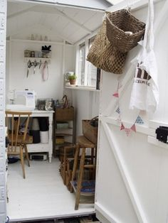 Before & After: A Clever Shed-to-Craft Room Makeover! We love the white washed affect with natural colours that make this shed craft room really special. Garden Shed Interiors, Garden Sheds, Shed Makeover, Craft Shed, Studio Shed, Workshop Studio, She Sheds, Shed Storage, Shed Plans