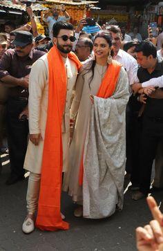 Deepika Padukone And Ranveer Singh Visit Siddhivinayak Temple After Mumbai Reception Deepika Ranveer, Deepika Padukone Style, Ranveer Singh, Bollywood Outfits, Bollywood Couples, Bollywood Wedding, Bollywood Stars, Indian Men Fashion, India Fashion