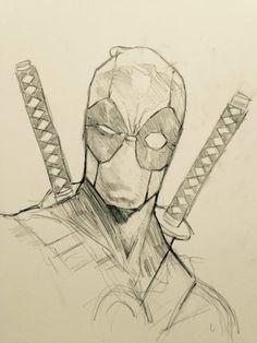 dibujos de deadpool a lapiz carboncillo