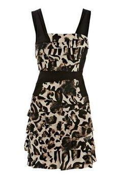 Karen Millen Frilled animal print dress leopard print [#KMM032] - $86.19 :