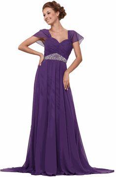 Purple High Waist Sweetheart Floor-length Chiffon Prom Dress With Cap Sleeves
