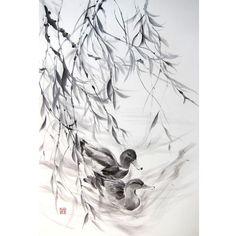 Japanese Ink Painting, Japanese art, Azian art, Sumi-e, Suibokuga,  Rice paper, Black, Large 18x28' Couple of Ducks under Willow
