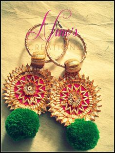 Must have Wedding Jewellery pieces for every Indian Bride! Diy Earrings, Crochet Earrings, Fabric Earrings, Gota Patti Jewellery, Terracotta Jewellery, India Jewelry, Fabric Jewelry, Jewelry Patterns, Swagg