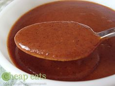 Enchilada sauce - I swear by this recipe. Canned sauces often make me fill sick, but this one tastes like restaurant sauces and I don't feel sick after!