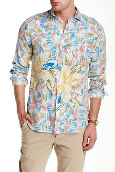 Long Sleeve Printed Slim Fit Linen Shirt