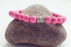 Pink Beaded Bracelet | Wood Bead Bracelet | Mens Elastic Bracelet  Simple Mens Bracelet Handmade Bracelets, Bracelets For Men, Beaded Bracelets, Bracelet Sizes, Men Necklace, Bracelet Designs, Anklet, Beads, Gifts