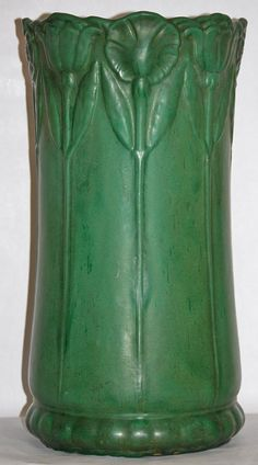Weller Pottery Bedford Matte Green Umbrella Stand from Just Art Pottery  $695.00