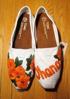 Hand painted TOMS shoes with hibiscus flowers