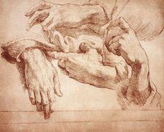 Estudio de manos de Andrea del Sarto (1520)