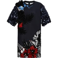 Aquilano.Rimondi Short Sleeve Embroidered Neoprene Dress (101 220 UAH) ❤ liked on Polyvore featuring dresses, modaoperandi, navy multi, embroidery dress, navy blue dress, navy dress, aquilano.rimondi and navy blue short sleeve dress
